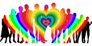 rainbow hearts with people surrounding
