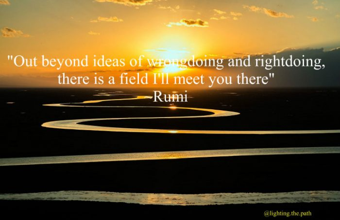 winding river with quote by Rumi to meet in the field